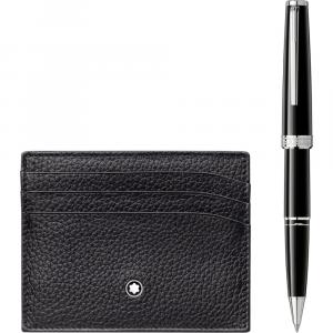 Set con roller PIX Black e porta carte di credito tascabile a 6 scomparti Meisterstück Soft Grain nero