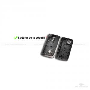 GUSCIO SCOCCA CHIAVE TELECOMANDO 3 TASTI CITROEN C2 C3 C4 C5 XSARA PICASSO CON CONTATTI BATTERIA SU SCOCCA INTERNA B01F