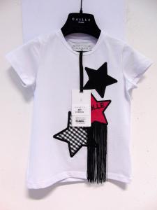 T-Shirt bianca con ricami stelle nere e rosa