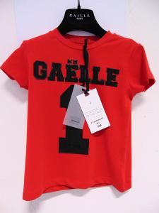 T-Shirt rossa con stampe logo e numero neri