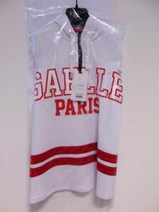 Vestito bianco con stampe scritta e bande rosse