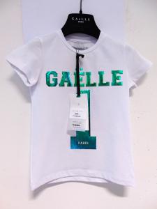 T-Shirt bianca con stampe logo e numero verdi