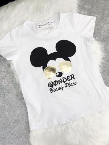 t-shirt stampata topolino in cotone elesticizzato made in italy