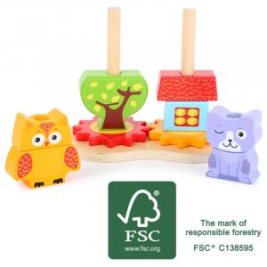 Gioco ad incastro per bambini in legno FSC Gatto e civetta