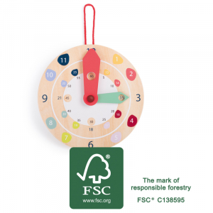 Orologio da parete in legno Gioco didattico Educate FSC