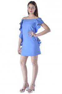 Abito donna Pinko corto in crepe con jabot azzurro c060f991bc8