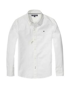Camicia bianca a maniche lunghe con ricamo logo