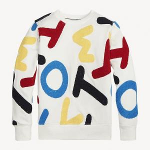 Felpa bianca con stampa lettere multicolore