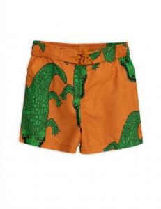 Costume da bagno marrone con stampe coccodrilli verdi