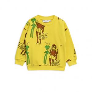 Felpa gialla con stampe scimmie marroni