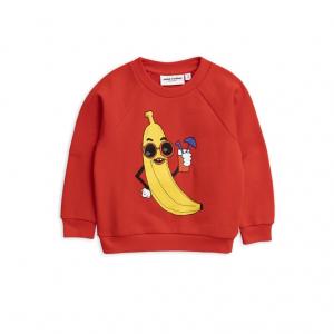 Felpa rossa con stampa banana gialla