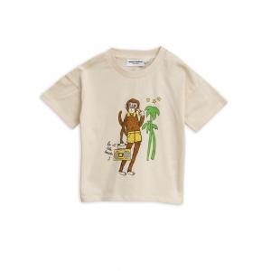 T-Shirt panna con stampa scimmia marrone