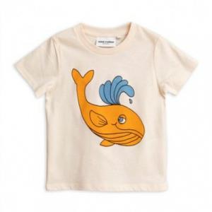 T-Shirt panna con stampa balena arancione