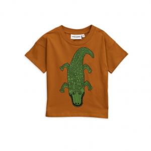 T-Shirt marrone con stampa coccodrillo verde