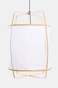 Lampada a sospensione Z2 blonde con struttura in cotone bianco ø67x100cm