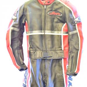 Tuta Moto Spyke Donna Tg46 Pelle Nera Rossa