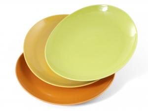 SATURNIA Set 6 Dishes Porcelain Steak 3 Cm 30.5 Table Decor Assorted Colors