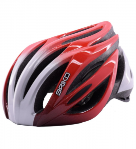 BRIKO Helmet Cycling Mountain Bike Unisex Silver Red Wave-Wa