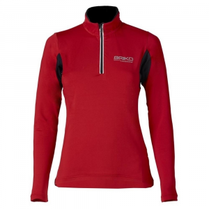 BRIKO Winter Sweater Long Sleeves Nording Walking Woman Training Lite Black Red