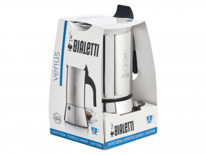 BIALETTI Stainless Steel Italian Coffee Maker Venus Cups 2  Made in Italy