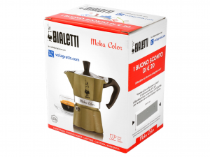 BIALETTI Aluminium Italian Coffee Maker Moka Color Gold Light Cups 3  Made Italy
