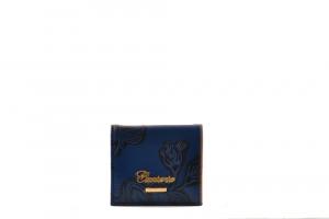CUOIERIA FIORENTINA Womens coin purse printed calf leather blu Made in Italy