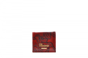 CUOIERIA FIORENTINA Womens coin purse printed calf leather Red Made in Italy