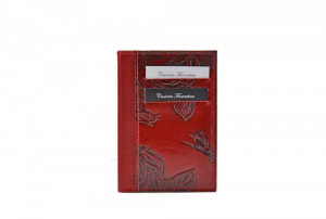 CUOIERIA FIORENTINA  Printed calfskin holder Leather wallet Red Made in Italy