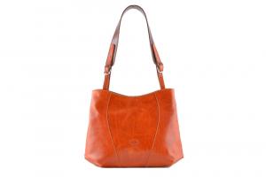 CUOIERIA FIORENTINA bucket leather bag ladies leather Orange  Made in Italy