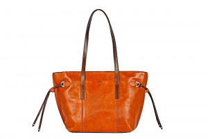 CUOIERIA FIORENTINA Shopping leather bag Leather Orange / Bicolor Made in Italy