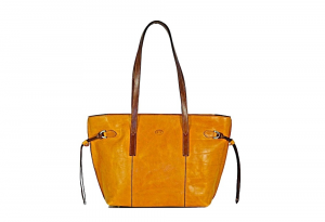 CUOIERIA FIORENTINA Shopping leather bag leather two-tone Yellow Made in Italy