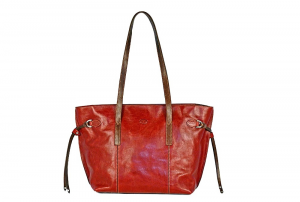 CUOIERIA FIORENTINA Shopping leather handbag Red / Brown leather Made in Italy