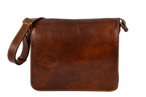 CUOIERIA FIORENTINA Unisex leather handbag leather shoulder strap Brown