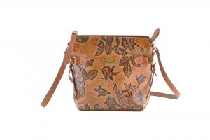 CUOIERIA FIORENTINA In Calf strap printed leather bag ladies Honey Beige