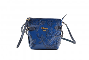 CUOIERIA FIORENTINA In Calf strap printed leather bag ladies Blue Made in Italy