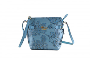 CUOIERIA FIORENTINA In Calf strap printed leather bag ladies Light Blue Handmade