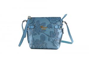 CUOIERIA FIORENTINA In Calf strap printed leather bag ladies Light Blue Handmade
