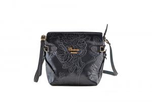CUOIERIA FIORENTINA In Calf strap printed leather bag ladies Black Made in Italy