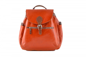 CUOIERIA FIORENTINA Leather Backpack Orange / Bicolor B.5091.C Made in Italy