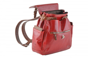 CUOIERIA FIORENTINA Leather Backpack Red / Bicolor B.5091.C Made in Italy