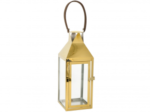 H&H Lantern Steel Handle Gold Leather 14X15Xh38 Lamps And Spotlights Italy