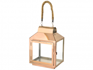 H&H Steel Lantern Copper Rope Handle 20X14Xh28 Lamps And Spotlights Italy
