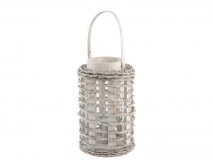 H&H Lantern Round Wood 16X26 Italian Design Exclusive Brand Italy