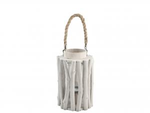 H&H Lantern Round Wood 17X27 Italian Design Exclusive Brand Italy