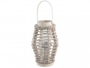 H&H Lantern Round Wood 20X31 Italian Design Exclusive Brand Italy