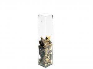H&H Vase Clear Glass Framework Cm10Xh40 Italian Design Exclusive Brand Italy