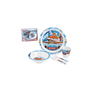 HOME Pack 5 Child Round Melamine Planes Baby Exclusive Design Made in Italy