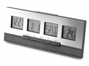 HOME Pack 2 Alarm Clocks Multifunction Gray Exclusive Brand Design Made in Italy