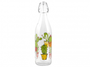 HOME 6 Bottles Glass 1 Lt Decoro Cactus Exclusive Brand Design Made in Italy