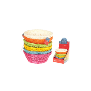 HOME Pack 6 Baskets Round Colored Plastic Cm21 Storage Boxes Top Italian Brand